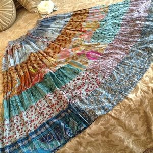 MADE FROM THE EARTH  PATCHWORK BOHO SKIRT S NWOT